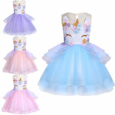 Kids Baby Girls Toddler Formal Party Flower Unicorn Birthday Princess Tutu Dress