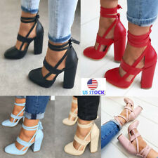 Summer Womens Block High Heels PU Leather Ankle Strap Sandals Bnadage Shoes Size