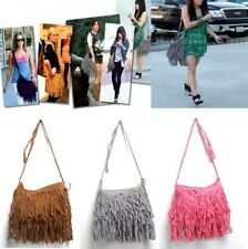 Tassel Fringe Shoulder Messenger Suede Handbag Cross Body Bag Purse Zip Bags