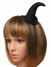 Womens Black Glitter Witches Hat on Aliceband Ladies Fancy Dress Party Headband
