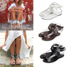 Women Peep Toe Flat Ankle Strap Sandals Summer Beach Slingbacks Casual Shoes