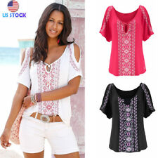 Womens Short Sleeve Floral Print T-shirts Off Shoulder V Neck Loose Tops Blouses