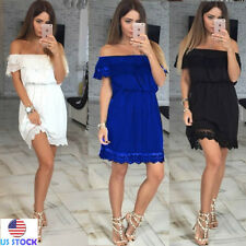 Sexy Womens Lace off Shoulder Short Sleeve Mini Dress Party Cocktail Summer S-XL