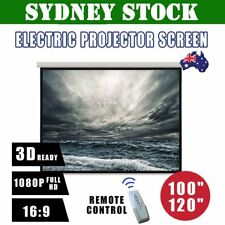 """100"""" 120"""" Inch Projector Screen Portable Electric Motorised TV Projection 3D 0I"""