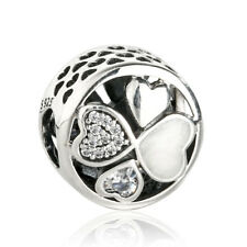 authentic 925 Sterling Silver Heart Pendant Charm Bead Fine Silver genuine charm