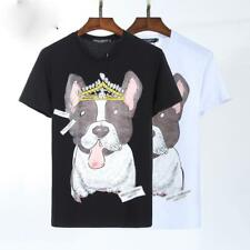 2018 New Fashion Men'sTee Dog&Crown Pattern Short Sleeve Casual Slim T-Shirt