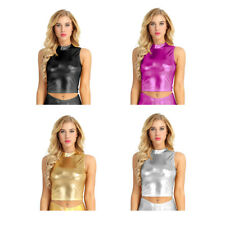 Women Metallic Wet Look Crop Top Sleeveless Mock Neck Turtleneck Tank Top Vest