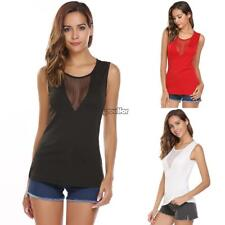 Women Casual O-Neck Sleeveless Patchwork See Through Mesh Sexy Vest Tops MSF