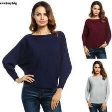 Women Slash Neck Batwing Sleeves Loose Knitted Pullover Ribbed Sweater EE6