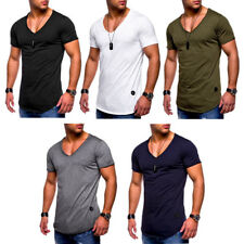 New Men Slim Fit V-neck Sports T-shirt Short Sleeve Muscle Top Blouse Size M-2XL