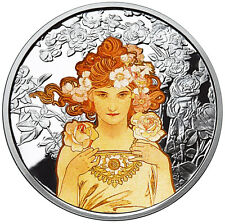 ALPHONSE MUCHA ROSE COLORIZED 1 OZ SILVER COIN #3 IN SERIES #COA ANONYMOUS MINT