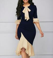 Women Bowknot Round Neck Mid Flare Hem Sleeve Package Hips Asymmetric Dress
