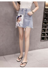Women's Portrait Print Button Front Frayed Raw Hem High Waist Denim Mini Skirt