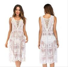Women's Flowy Lace Crochet Cover Up Tunic Sleeveless Beach Midi Swimsuit Dress