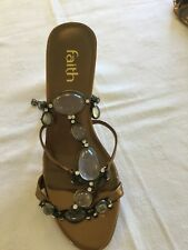 Faith Gold Jewelled Sandals Size 5
