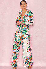 HOUSE OF CB 'Bartola' Blush Tropical Palm Print Trousers S 8 / 10 SJ 1383