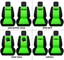 Fits JK wrangler  front car seat covers black-lime green w/  grill, sahara
