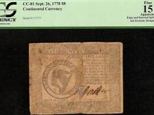 1778 $8 EIGHT DOLLAR HARP NOTE UNITED STATES CONTINENTAL CURRENCY CC-81 PCGS