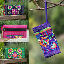 Fashion Women Ethnic Handmade Coin Purse Embroidered Wristlet Clutch Bag Wallet
