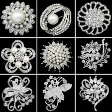 Silver Pearl Crystal Rhinestone Flowers Brooch Pin Wedding Bridal Women Jewelry