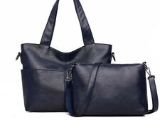 Women's Handbag Leather Shoulder Two  Sets Casual Tote Open Pockets With Zipper