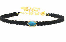 Braided Suede Choker Quartz Pendant  18k Gold Plated nwt Womens Jewelry New