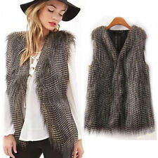 Women Winter Vest Sleeveless Outerwear Coat Faux Fur Casual Waistcoat Jacket New