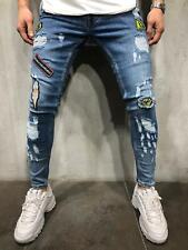 Distressed Jeans Streetwear Patched Ripped Skinny Fit Casual Street Fashion 4108