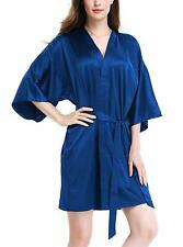 Genuwin Womens Silk Robe Kimono Robe Bridesmaid Satin Robe Knee Length Women Rob