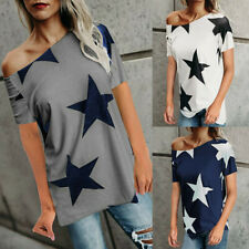 Fashion Women's Off Shoulder Short Sleeve T Shirt Casual Loose Fit Tops Blouses