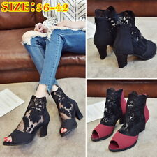 Women Mesh Lace Sandals Block Heels Shallow Mouth Fish Mouth Shoes High-heel NG0