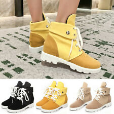 Womens Ankle Boots Platform Lace Up High Top Sneakers Canvas Hidden Heel Booties