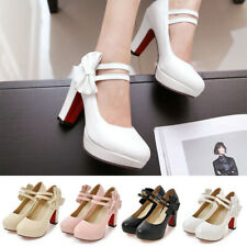 Women Cut Ankle Strap Block High Heel Mary Jane Shoes Ladies Party Dress Pumps