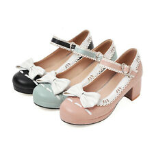 New Women Chunky Mid Heel Lolita Shoes Cute Buckle Ankle Strap Mary Jane Pumps