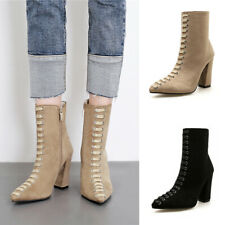 Women Ladies High Block Heel Casual Work Office Poined Toe Zip Ankle Boots Shoes