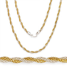 3.2mm Silver 14k Y Gold Plated Twist Rope Popcorn Link Chain Necklace Italy