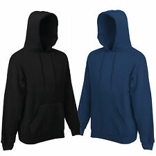 FRUIT OF THE LOOM HOODED TOP HOODIE NAVY OR BLACK S-XXL