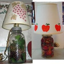 Mason Jar Electric Lamp, Apple, Grapes or Pinecones-