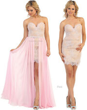 SEXY 2 IN 1 EVENING PROM GOWN SHORT SWEET 16 DRESSES FORMAL COCKTAIL DANCE PARTY