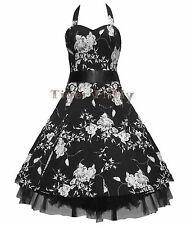 50's FLORAL PROM WEDDING DRESS BLACK & WHITE SIZE 8-18