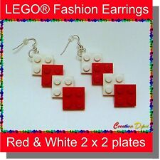 BrickCrafts LEGO® Red & White Dangle Earrings - Valentine's Day