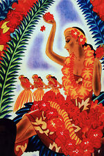 Vintage POSTER.Hawaian Dance.Hawaii.Room Art Decor.632
