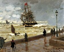 Monet Jetty of le Havre in bad weather - Giclee Canvas