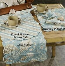 NATURAL SHELLS TABLE RUNNER NAPKIN PLACEMAT: BEACH HOUSE AQUA WHITE KITCHEN
