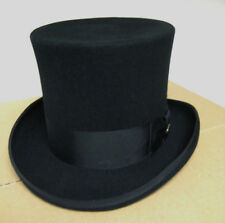 Dorfman Pacific 567 Tall Top Hat Mad Hatter Victorian Wool Felt S M L XL Black