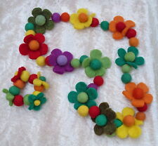 FAIR TRADE NEPAL FUNKY FELT FLOWER NECKLACE & BRACELET