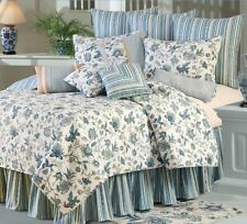 JACOBEAN BLUE 7pc Full or Queen QUILT SET -  TEAL FLORAL STRIPE COLONIAL BEDDING