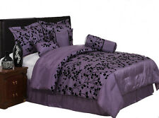 7 Pieces Purple with Black Velvet Floral Flocking Comforter Set Bed-In-A-Bag New