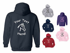 PERSONALISED KIDS PONY / HORSE HOODY / HOODIE, ANY TEXT, CHILDS - Age 3 to 15