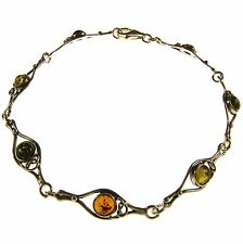 PRETTY FASHIONABLE BALTIC AMBER STERLING SILVER 925 DESIGNER BRACELET JEWELLERY